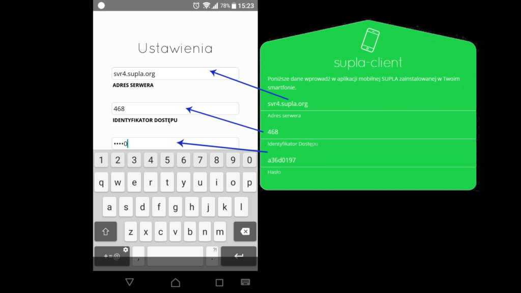 dane dostępowe do serwera SUPLA znajdują się w zielonym formularzu