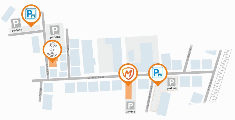 Mapka parkingów dla klientów firmy E-system (Montersi.pl)