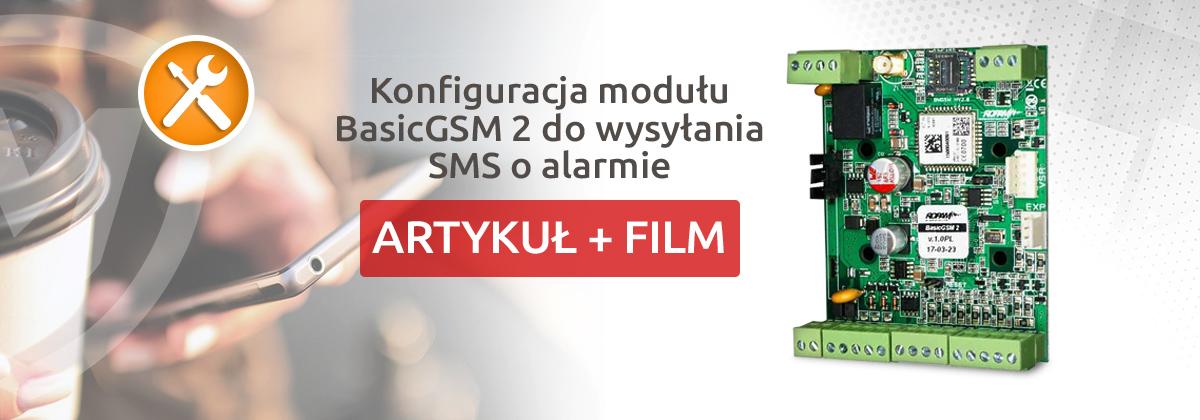 Konfiguracja modułu BasicGSM 2 do wysyłania SMS o alarmie