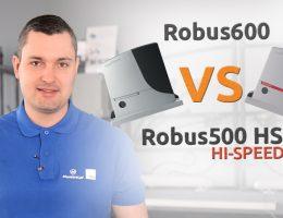 Porównanie prędkości siłowników do bramy przesuwnej Robus600 i Robus500 HS
